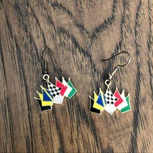 4/$15 Nascar flag racing earrings